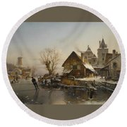 Skaters On The Canal Round Beach Towel