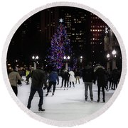 Skating By The Tree Round Beach Towel