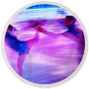 Skating Couple Abstract 2 Round Beach Towel