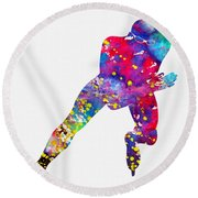 Skating Man-colorful Round Beach Towel