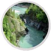 Bulkley River Canyon Round Beach Towel