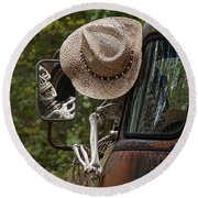 Skeleton Crew - Skeleton Driving A Vintage Truck Round Beach Towel
