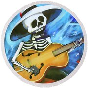Skeleton Guitar Day Of The Dead  Round Beach Towel