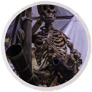 Skeleton With Bow Canon Round Beach Towel
