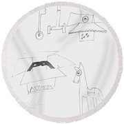Sketch Book Page Round Beach Towel
