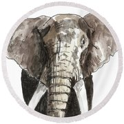 Sketch Elephant Round Beach Towel