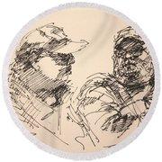 Sketch Men At Tims Round Beach Towel