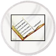 Sketch Of A Book With Quote Round Beach Towel