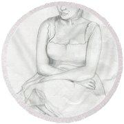 Sketch Of Marilyn Monroe Round Beach Towel