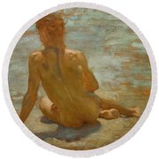 Sketch Of Nude Youth Study For Morning Spelendour Round Beach Towel