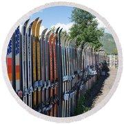 Ski Fence Round Beach Towel