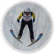 Ski Jumper 3 Round Beach Towel