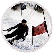 Ski Racer 2 Round Beach Towel