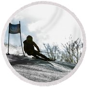 Ski Racer Backlit Round Beach Towel