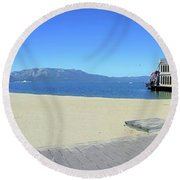 Ski Run Marina Round Beach Towel