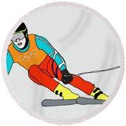 Skier Round Beach Towel