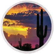Skies Aglow In Arizona  Round Beach Towel