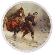 Skiing Birchlegs Crossing The Mountain With The Royal Child Round Beach Towel