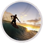 Skimboarding At Sunset I Round Beach Towel