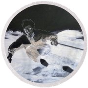 Sking Round Beach Towel by Richard Le Page