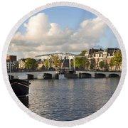 Skinny Bridge In Amsterdam Round Beach Towel