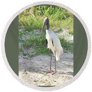 Skinny Wood Stork Round Beach Towel
