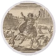 Skirmish In A Roman Circus Round Beach Towel