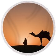Skn 0893 Halo Of Sunrise Round Beach Towel