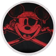 Skull And Bones Mickey In Red Round Beach Towel
