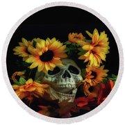 Skull And Flowers Round Beach Towel