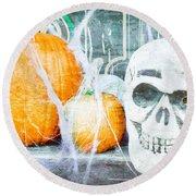 Skull And Pumpkin Round Beach Towel