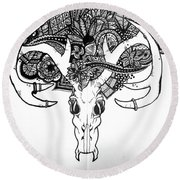 Skull Art Round Beach Towel