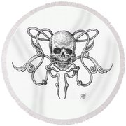 Skull Design Round Beach Towel