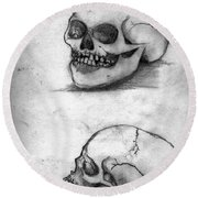 Skull Drawing Round Beach Towel