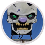 Skull Fun House Sign Round Beach Towel