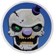 Skull Fun House Sign Round Beach Towel