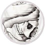 Skull Gambler Round Beach Towel