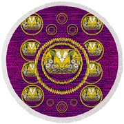 Skull Hands In A Flower Scenery Popart Round Beach Towel