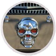Skull License Plate Round Beach Towel