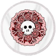 Skull Mandala Pink Round Beach Towel