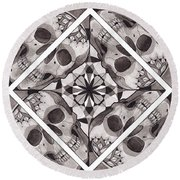 Skull Mandala Series Number Two Round Beach Towel by Deadcharming Art