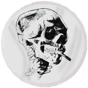 Skull Smoking A Cigarette Round Beach Towel
