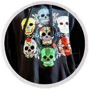 Skull T Shirts Day Of The Dead  Round Beach Towel