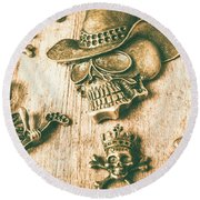 Skulls And Pieces Round Beach Towel