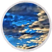 Sky And Clouds Round Beach Towel