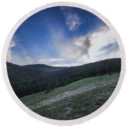 Sky And Mountains Round Beach Towel