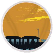 Sky And Pier Round Beach Towel