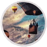 Sky Caravan Hot Air Balloons Round Beach Towel