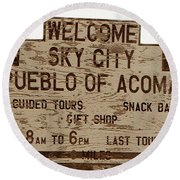 Sky City Sign Round Beach Towel