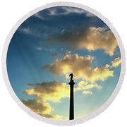 Sky Clouds And Statue In Stuttgart Germany Round Beach Towel